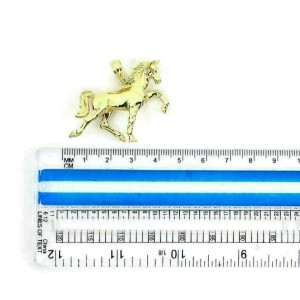 Full 3D Horse Figure 14k Yellow Gold Pendant