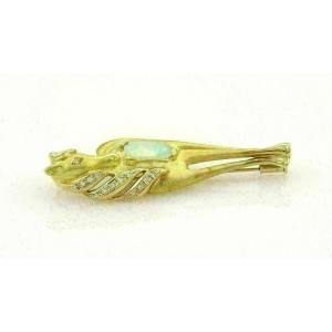 Estate Fire Opal & Diamonds 18k Yellow Gold Horse Pendant Brooch