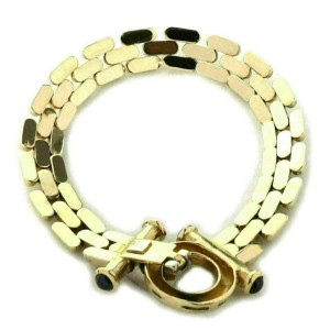 Sapphire 14k Yellow Gold Triple Row Bar Link Bracelet