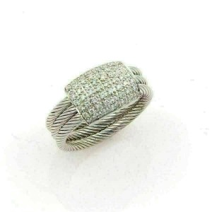 Philippe Charriol Flamme Blanche 18k White Gold & Diamonds Cable Ring