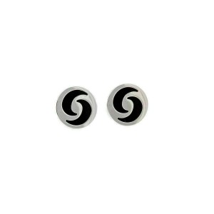 Bvlgari Optical Illusion Onyx 18k White Gold Round Stud Earrings