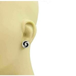 Bvlgari Optical Illusion Onyx 18k White Gold Round Stud Earrings