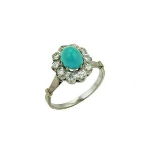 Estate Diamonds & Turquoise 14k White Gold Cocktail Ring