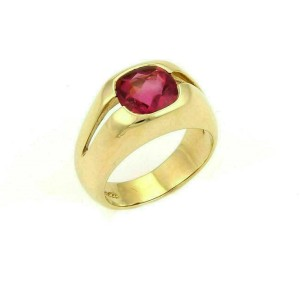 Tiffany & Co. 18k Yellow Gold & Pink Tourmaline Solitaire Ring