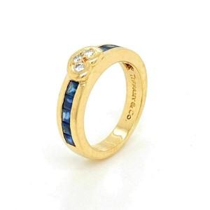Tiffany & Co. Diamond Sapphire 18k Yellow Gold Heart Band Ring