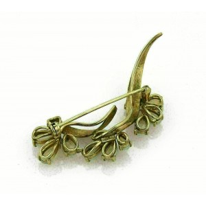 Estate 14k Yellow Gold & Opal Floral Sprig Brooch