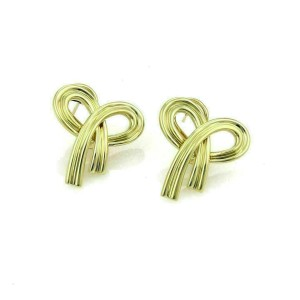 Tiffany & Co. 18k Yellow Gold Ribbon Bow Post Clip Earrings