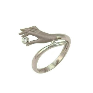 Carrera y Carrera Diamond 18k White Gold Detailed Hand Ring