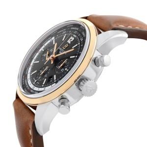 Breitling Transocean Unitime Pilot Gold Steel Black Dial Men Watch UB0510U4/BC26