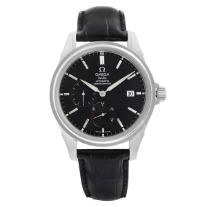 Omega DeVille Stainless Steel Leather Black Dial Automatic Mens Watch 4832.50.31