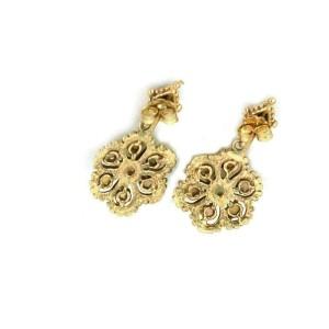 Vintage 14k Yellow Gold & Opal Floral Drop Dangle Earrings