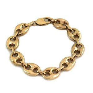 Large Puff 14k Yellow Gold Mariner Link Bracelet