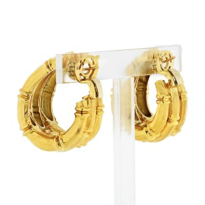 Cartier Vintage 18K Yellow Gold Large Bamboo Hoop Earring