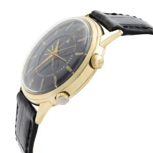 LeCoultre Memovox Alarm 10k Gold Filled Steel Black Dial Mens Watch 2265