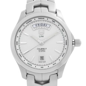 Tag Heuer Link Day Date Steel White Dial Automatic Mens Watch WJF2011.BA0592