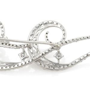 Estate 2.5ct Diamond 18k White Gold Double Scroll Design Brooch Pin