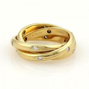 Tiffany & Co. France Diamonds 18k Yellow Gold 3 Sliding 3mm Band Ring Size 5.25
