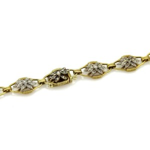 "Vintage 5.00ct Diamond 18k Two Tone Fancy Floral Link 33"" Long Necklace"