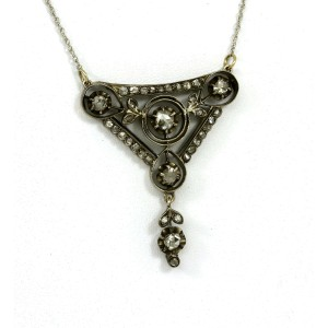 BEAUTIFUL 14K WHITE GOLD & 1 CT ROSE CUT DIAMONDS LADIES ORNATE PENDANT NECKLACE