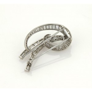 Estate 4.08ct Diamond & Platinum Ribbon Fancy Bow Brooch Pin