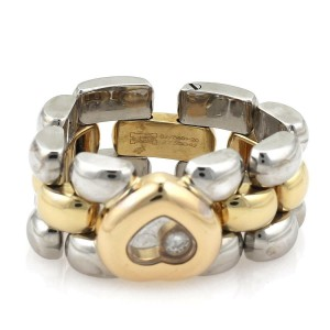Chopard Happy Diamond 18k YGold & Steel Heart Panther Link Flex Band Ring