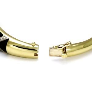 Estate 14k Two Tone Gold Diamond & Enamel Hinged Dome Bangle Bracelet