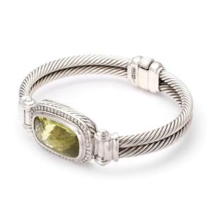 David Yurman Nobelesse Diamond Citrine Sterling Silver Cable Band Bracelet