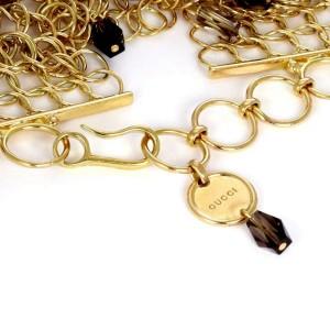 Gucci Smoky Topaz 18k Yellow Gold Circle Links Wide Bracelet