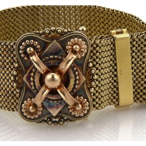 Victorian 14k Two Tone Gold Belt & Buckle Weave Tassel Bracelet