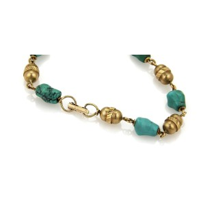 Vintage Tiffany & Co. 18k Yellow Gold Turquoise Nugget & Tube Link Bracelet