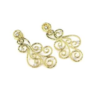 Designer Sal Paschnik Diamond 18k Yellow Gold Scroll Design Long Dangle Earrings