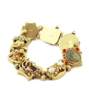 Vintage Multi-Color Gems 14k Yellow Gold 8 Assorted Charms Slide Bracelet