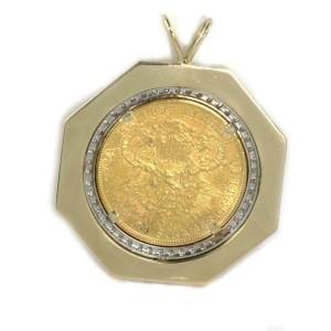 Large 22k Liberty 20$ Gold Coin Diamond 14k Yellow Gold Octangon Pendant
