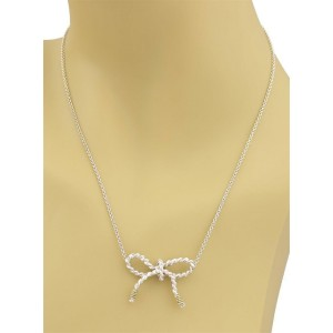 Tiffany & Co. Sterling 18k Yellow Gold Wire Bow Pendant & Chain