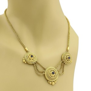 Vintage Sapphire 22k Yellow Gold Triple Center Pendant Woven Chain Necklace