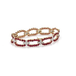 8.40ct Ruby & Diamond 14k Two Tone Gold Open Oval & Floral Link Bracelet