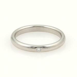 Tiffany & Co. Peretti 1 Diamond Platinum 2.5mm Wedding Band Ring Size 6.5