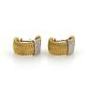 Roberto Coin Diamond 18k YGold Basket Weave Curved Post Clip Earrings