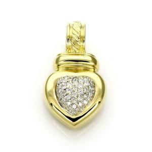 David Yurman Pave Diamond 18k Yellow Gold Heart Pendant