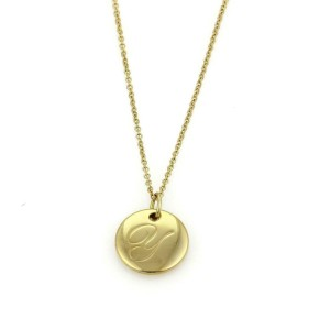 "Tiffany & Co. NOTES 18k Yellow Gold Letter ""Y"" Round Pendant & Chain"
