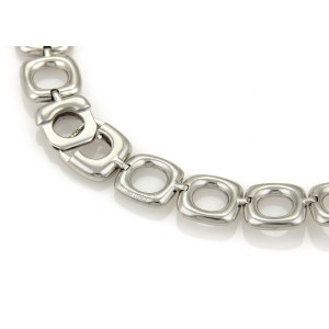 Tiffany & Co. Pave Diamond Ceramic 18k White Gold Fancy Link Necklace