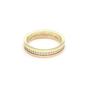 Cartier Diamond 18k Tricolor Gold 3.5mm Stack Band Ring Size 46-US 3.75 Cert