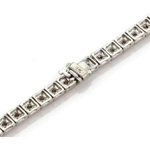 Modern 3.5 ct Diamond 14k White Gold Milgrain Square Link Tennis Necklace