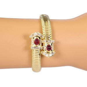 Snake Design 3.50ct Diamond & Ruby 18k Yellow Gold Flex Cuff Bracelet