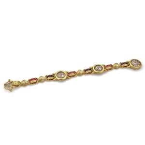 Designer Diamond Multicolor Gems 18k Yellow Gold Silver Coin Fancy Bracelet