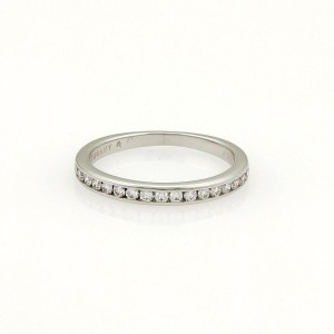 Tiffany & Co. Half Circle Diamonds Platinum 2mm Band Ring Size 4