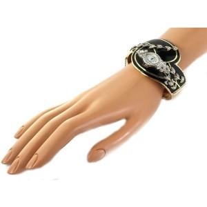 Estate 1.20ct Diamond Enamel 14k Gold Hamilton Fancy Ladies Watch Bracelet