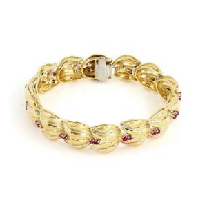 Spritzer & Furman 1.00ct Ruby 18k Yellow Gold Leaf Link Bracelet
