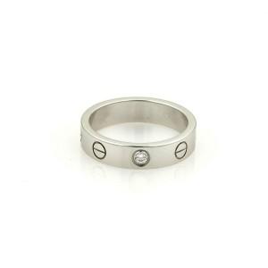 Cartier Mini Love 1 Diamond 18k White Gold 4mm Band Ring Size 49-US 5 Paper