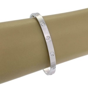 Cartier Love 4 Diamond 18k White Gold Bangle Size 19 Screwdriver Paper Box
